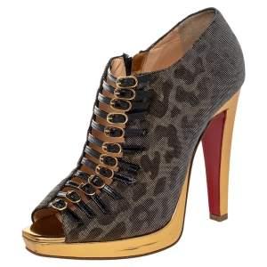 Christian Louboutin Metallic Leopard Print Lurex Fabric Manon Peep Toe Ankle Boots Size 39