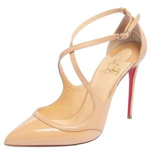 Christian Louboutin Beige Patent Leather Crissoss Sandals Size 39