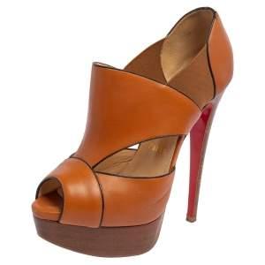 Christian Louboutin Brown Leather Cutout Pumps Size 35.5
