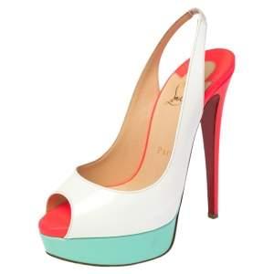 Christian Louboutin White Patent Leather Lady Peep Toe Platform Slingback Sandals Size 36