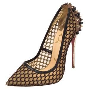 حذاء كعب عالي كريستيان لوبوتان مقدمة مدببة غوني جلد مزخرف سبايك وشبك بيج/ أسود مقاس 36.5