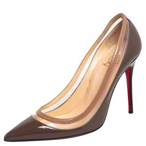 Christian Louboutin Brown/Beige Patent Leather and PVC Paulina Pointed Toe Pumps Size 38