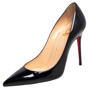 Christian Louboutin Black Patent Leather Decollete 554 Pointed Toe Pumps Size 37.5