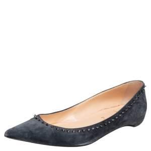 Christian Louboutin Grey Suede Anjalina Ballet Flats Size 40.5