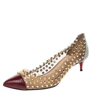 حذاء كعب عالي كريستيان لوبوتان سبايك مي بي في سي وجلد ثعبان متعدد الألوان مقاس 37.5