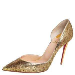 Christian Louboutin Gold Laser Cut Leather And Glitter Galupump Pointed Toe D'Orsay Pumps Size 40.5