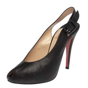Christian Louboutin Black Leather Peep Toe Sling Buckle Sandals Size 37.5