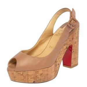 Christian Louboutin Beige Leather Donna Anna Cork Sandals Size 38