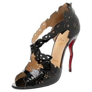 Christian Louboutin Black Patent Leather Decoupadiva Sandals Size 39.5