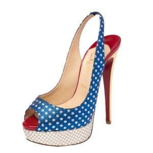 Christian Louboutin Metallic Multicolor Fabric Miss America Slingback Sandals Size 36
