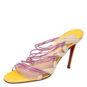 Christian Louboutin Tri Color Metallic Leather Strappy Frescobaldi Sandals Size 40.5