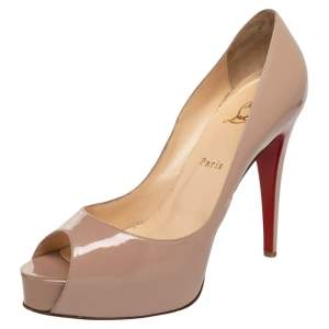 Christian Louboutin Beige Patent Leather Hyper Prive Pumps Size 40.5