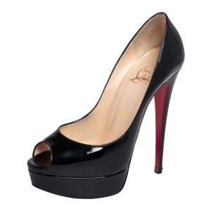 Christian Louboutin Black Patent Leather Lady Peep Toe Platform Pumps Size 38.5