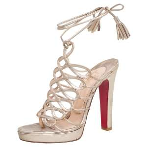 Christian Louboutin Gold Leather Salsbourg Thong Platform Sandals Size 38