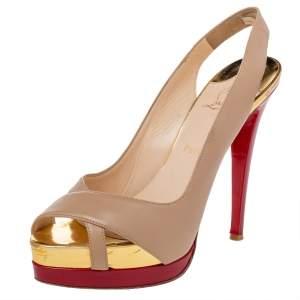 Christian Louboutin Beige/Red Leather Soso Platform Slingback Sandals Size 39