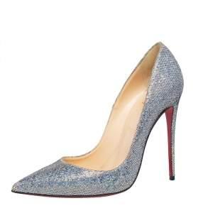 حذاء كعب عالي كريستيان لوبوتان سو كيت غليتر متعدد الألوان مقدمة مدببة مقاس 39.5