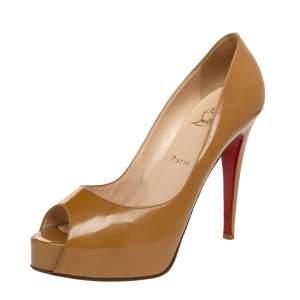 Christian Louboutin Beige Patent Leather Lady Peep Toe Pumps Size 39.5