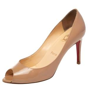Christian Louboutin Beige Patent Leather You You Peep Toe Pumps Size 37.5
