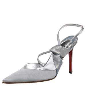 Christian Louboutin Silver Satin And Metallic Leather Pointed Toe Slingback Sandals Size 37