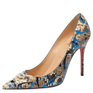 حذاء كعب عالي كريستيان لوبوتان سو كيت جلد ثعبان رذاذ طلاء متعدد الألوان مقاس 38.5