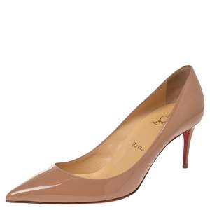 Christian Louboutin Beige Patent Leather Kate 70 Pumps Size 38.5