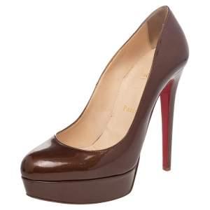 Christian Louboutin Brown Patent Leather Bianca Platform Pumps Size 39