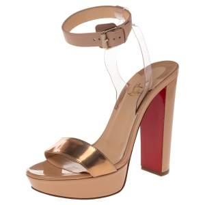 Christian Louboutin Beige/Bronze Leather  Cherry Platform Sandals Size 38.5