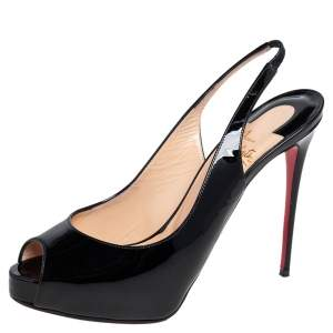 Christian Louboutin Black Patent Leather Very Prive Slingback Sandals Size 38.5