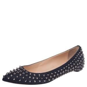 Christian Louboutin Black Canvas Pigalle Spike Ballet Flats Size 40