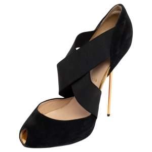 Christian Louboutin Black Suede Elastic Cross Strap Peep Toe Sandals Size 41