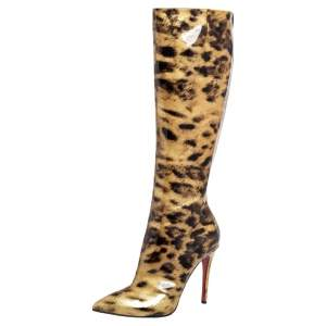 Christian Louboutin Light Yellow/Black Leopard Print Patent Leather Zip Knee Length Boots Size 39.5