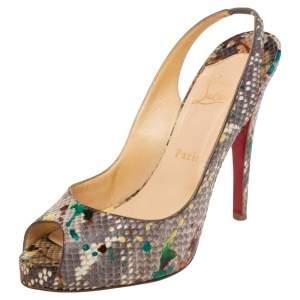 Christian Louboutin Multicolor Python Leather Lady Peep Toe Platform Slingback Sandals Size 39