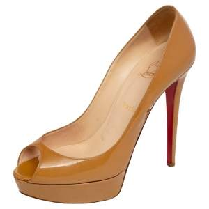 Christian Louboutin Beige Patent Leather Very Prive Peep Toe Pumps Size 40