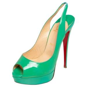 Christian Louboutin Green Patent Leather Lady Peep Toe Platform Slingback Sandals Size 40