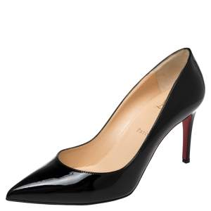 Christian Louboutin Black Patent Leather Pigalle 85 Pumps Size 39.5