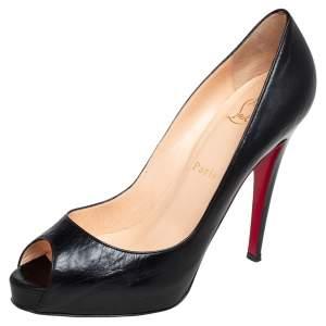 Christian Louboutin Black Leather Very Prive Peep Toe Pumps Size 38.5