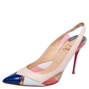 Christian Louboutin Tricolor Leather and PVC Air Chance Slingback Sandals Size 38.5