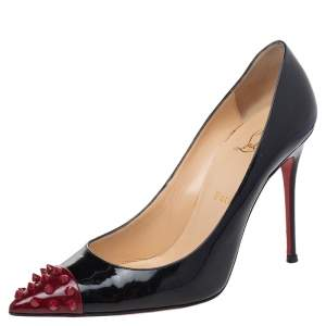 Christian Louboutin Black Patent Leather Geo Spike Studded Cap Toe Pumps Size 39.5