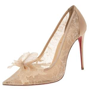 Christian Louboutin Beige Satin and Lace TouFrou Pumps Size 40