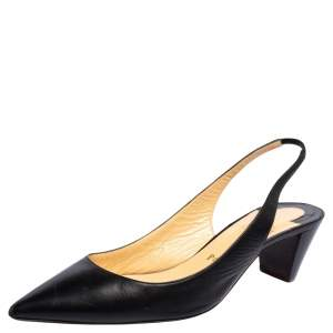Christian Louboutin Black Leather Karelli Slingback Sandals Size 39