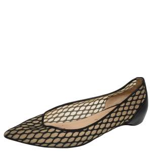 Christian Louboutin Black Leather and Mesh Miss Mix Ballet Flats Size 39