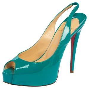 Christian Louboutin Green Patent Leather Private Number Peep Toe Slingback Sandals Size 38.5