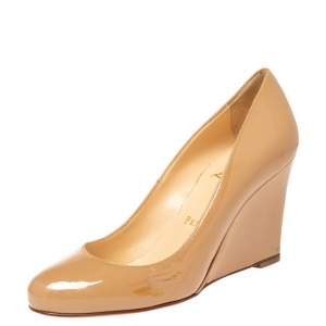 Christian Louboutin Beige Patent Leather RonRon Zeppa Wedge Pumps Size 35