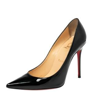 Christian Louboutin Black Patent Leather Kate Pointed Toe Pumps Size 38
