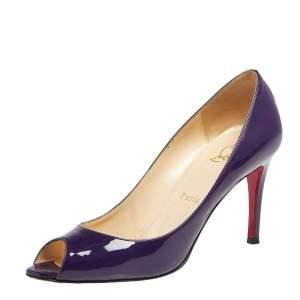Christian Louboutin Purple Patent Leather You You Peep Toe Pumps Size 37.5