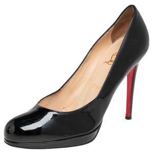 Christian Louboutin Black Patent Leather New Simple Pumps 38.5