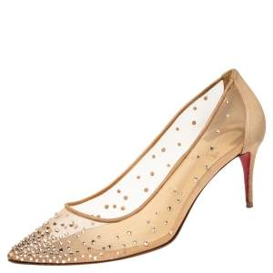 Christian Louboutin Beige Mesh and Suede Follies Strass Crystal Embellished Pumps Size 38.5