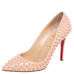 Christian Louboutin Beige Patent Leather Pigalle Spikes Pointed Toe Pumps Size 39.5