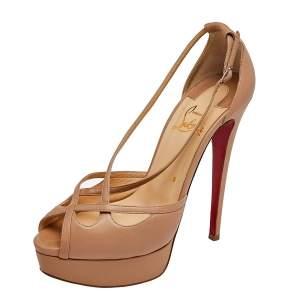 Christian Louboutin Beige Leather Madalena Peep Toe Platform Sandals Size 38.5