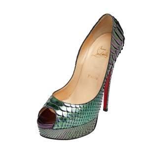 Christian Louboutin Green Python Leather Lady Peep Toe Platform Pumps Size 38